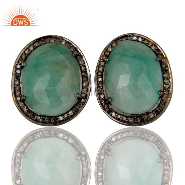Oxidized Sterling Silver Diamond and Emerald Stud Earring