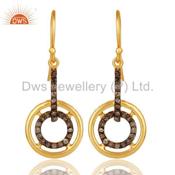 18K Yellow Gold Plated 925 Sterling Silver Round Pave Diamond Earrings Jewelry