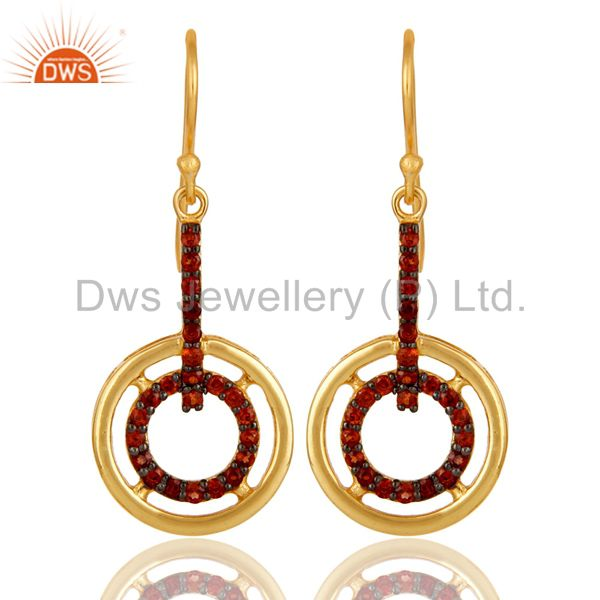 Garnet and 18K Gold Plated Sterling Silver Gemstone Drop Earring