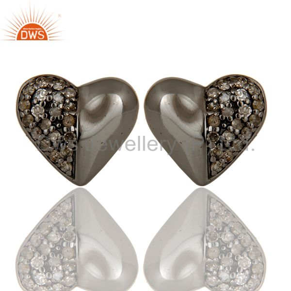 Diamond and Black Oxidized Sterling Silver Heart Shape Stud Earring
