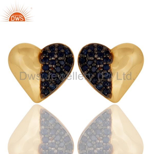 Blue Sapphire and 18K Gold Plated Sterling Silver Heart Shape Stud Earring