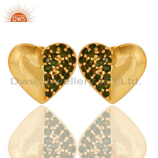 Green Tourmaline and 18K Gold Plated Sterling Silver Heart Shape Stud Earring