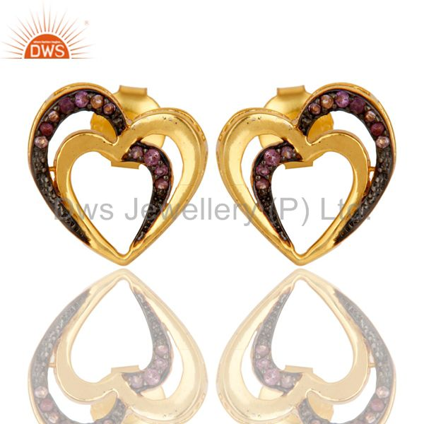 Amethyst and 18K Gold Plated Sterling Silver Heart Shape Ear Stud