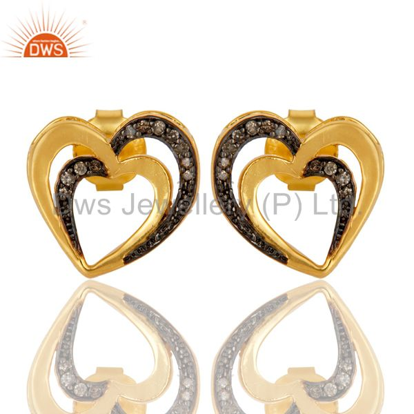 18K Gold Plated 925 Sterling Silver Heart Design Pave Diamond Earrings Jewelry