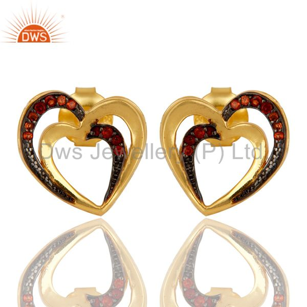 Garnet and 18K Gold Plated Sterling Silver Heart Shape Ear Stud
