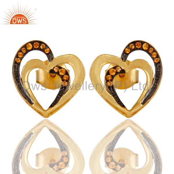 Spessartite and 18K Gold Plated Sterling Silver Heart Shape Ear Stud