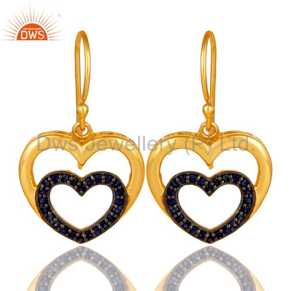 Blue Sapphire and 18K Gold Plated Sterling Silver Heart Design Ear Stud