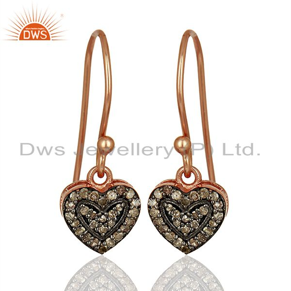 Heart Shape Rose Gold Plated Silver Pave Diamond Earrings Manufacturer