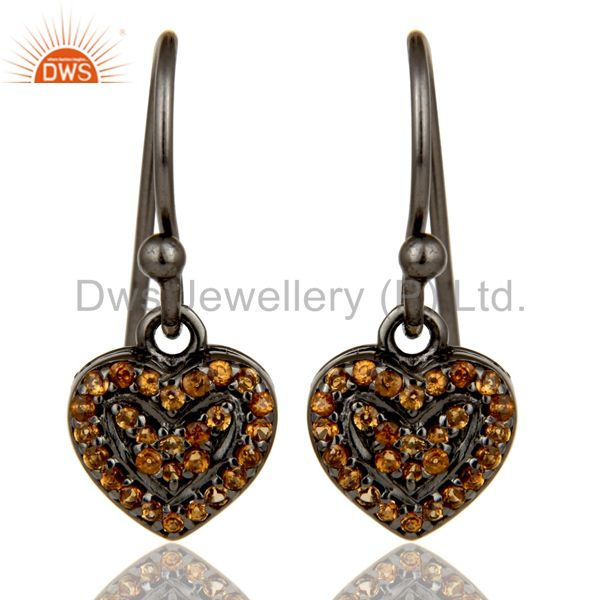 Spessartite and Oxidized Sterling Silver Heart Design Earring