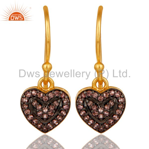 Pink Tourmaline and 18K Gold Plated Sterling Silver Heart Designer Ear Stud