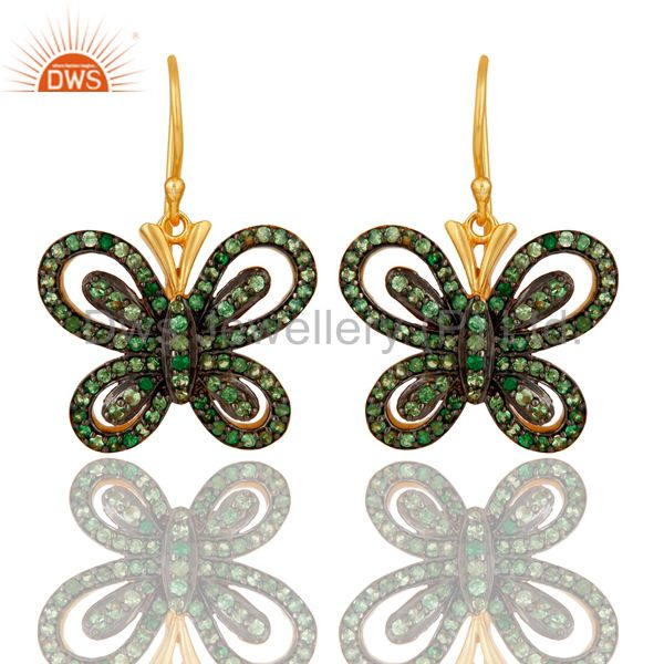 Tsavourite and 18K Gold Plated Sterling Silver Butterfly Drop Earring