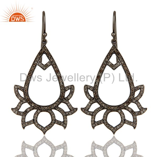 925 Sterling Silver Oxidized Handmade Pave Diamond Lotus Design Earrings Jewelry