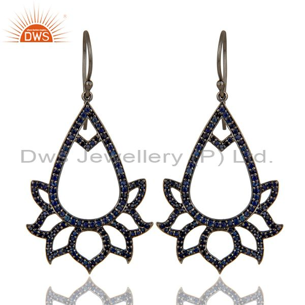 Blue Sapphire Lotus Dangler Earring Oxidized Sterling Silver Earring