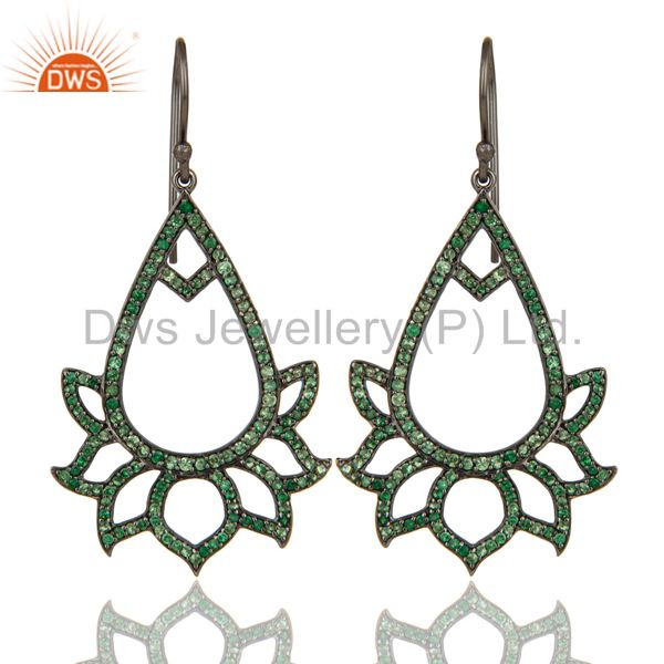 Tsavourite Lotus Dangler Earring Oxidized Sterling Silver Earring