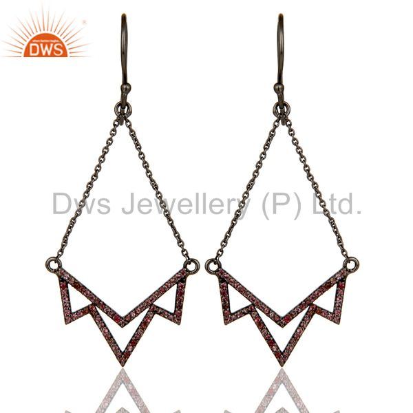 Pink Tourmaline Stone Lotus Dangler Earring Oxidized 925 Sterling Silver Earring