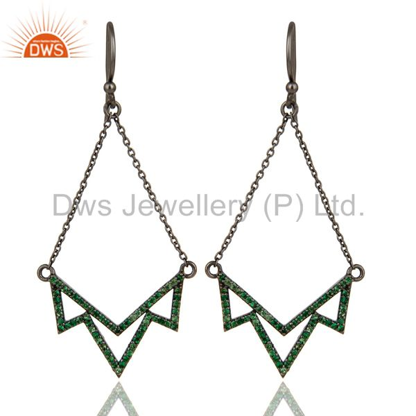 Lotus Dangler Earring Oxidized Sterling Silver Earring with Tsavourite