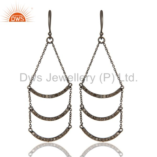Lotus Dangler Earring Oxidized Sterling Silver Earring with Diamond