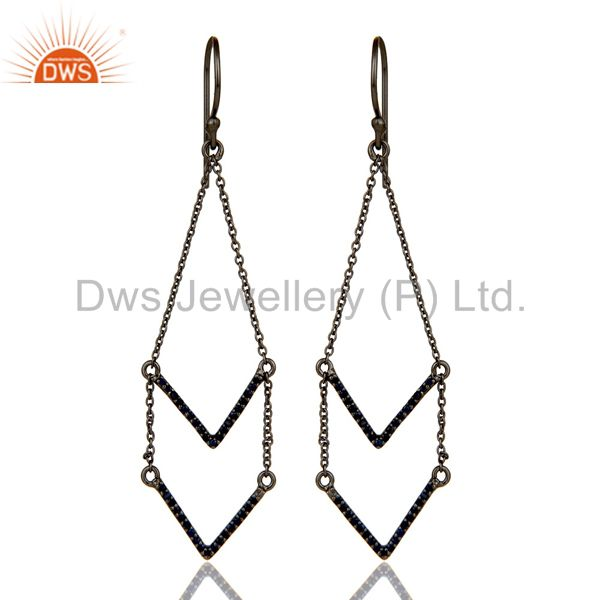 Blue Sapphire and Black Oxidized Sterling Silver V shae Drop Dangler Earring