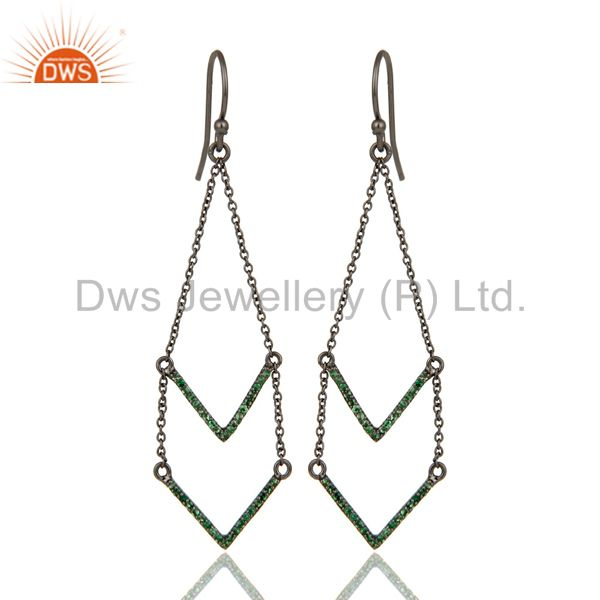925 Sterling Silver Black Oxidized Tsavorite Filigree Dangle Earring Jewelry