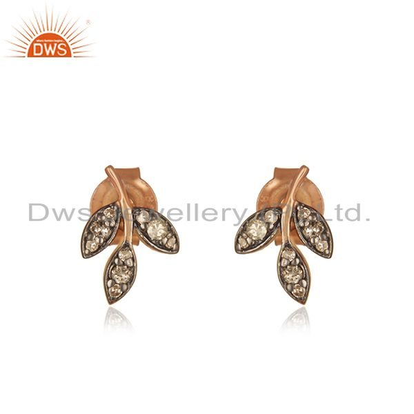 Leaf Design Rose Gold Plated Pave Diamond Stud Earrings Supplier