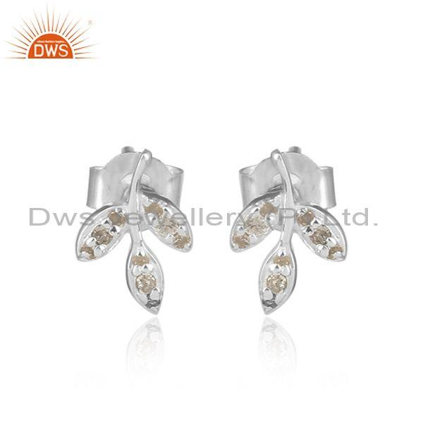 Leaf Design 925 Sterling Silver Natural Diamond Stud Earring
