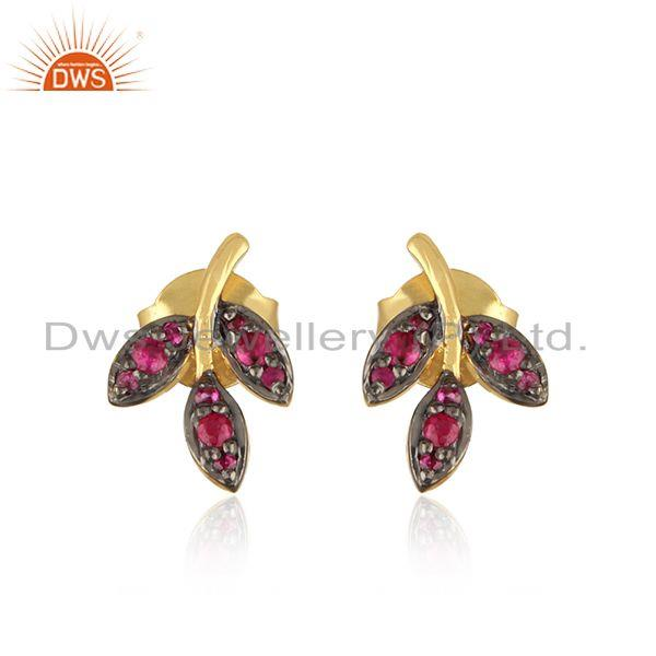 Black & Gold Plated Leaf Design Silver Ruby Stud Earrings Jewelry