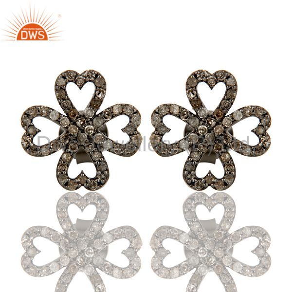Diamond and Oxidized Sterling Silver Heart Flower Design Stud Earring