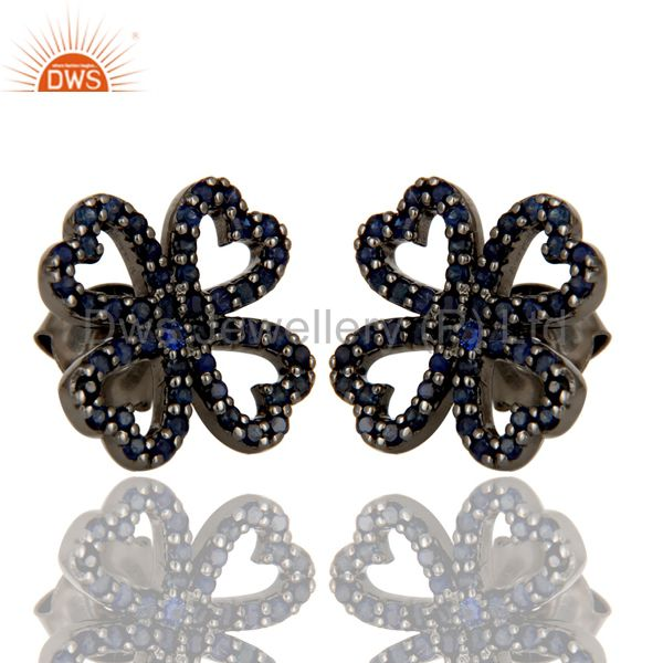 Blue Sapphire and Oxidized Sterling Silver Heart Flower Design Stud Earring