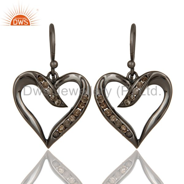 Heart Shape Earring Diamond and Oxidized Sterling Silver Designer Earring