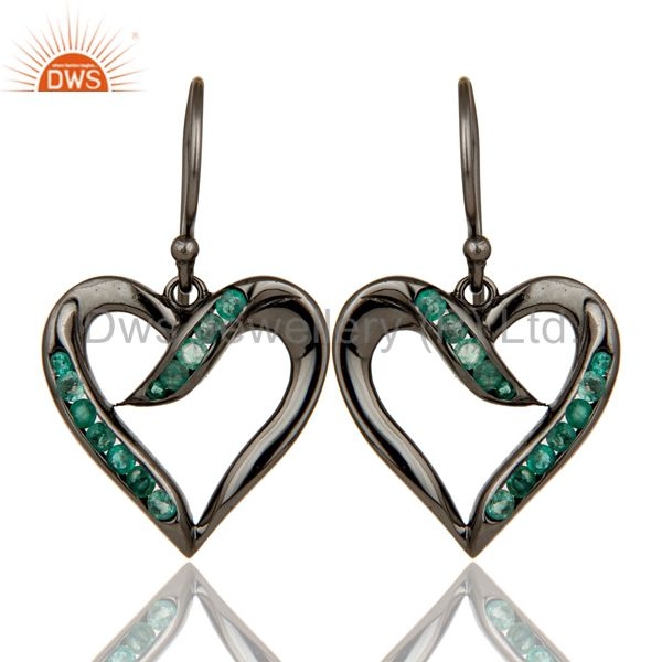 Heart Shape Earring Emerald and Oxidized Sterling Silver Designer Earring