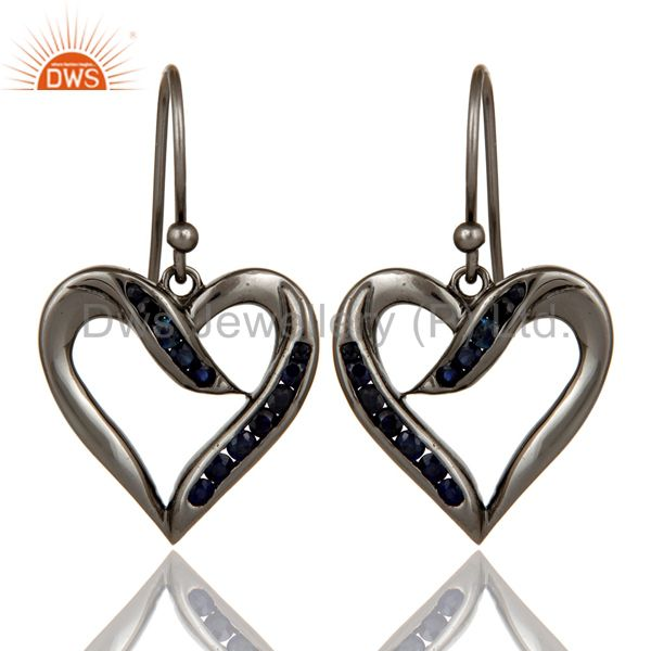 Heart Shape Earring Blue Sapphire and Oxidized Sterling Silver Designer Earring