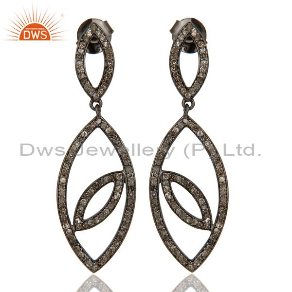 Handmade Eyes Design Dangle Diamond Oxidized Sterling Silver Earrings