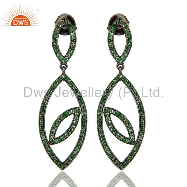 Handmade Eyes Design Dangle Tsavorite with Oxidized Sterling Silver Earrings