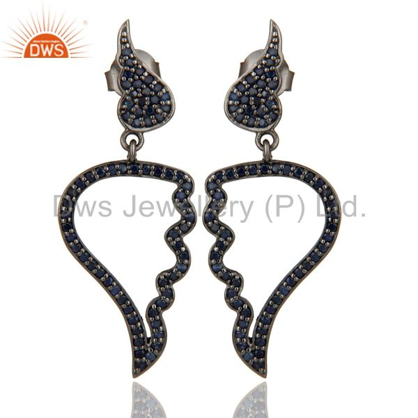 Leaf Rame Design Blue Sapphire & Oxidized Sterling Silver Drop Earring