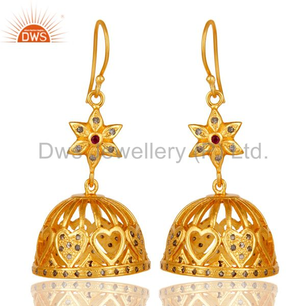 18k Yellow Gold Plated 925 Sterling Silver Diamond & Ruby Cut Jhumka Earrings