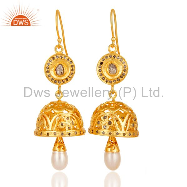 Diamond & Pearl Handmade Jhumka Earrings with 18k Gold Plated Sterling Silver