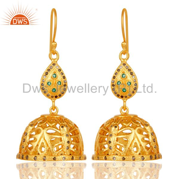 18k Gold Plated 925 Sterling Silver Diamond Cut Fancy Jhumka Emerald Earrings