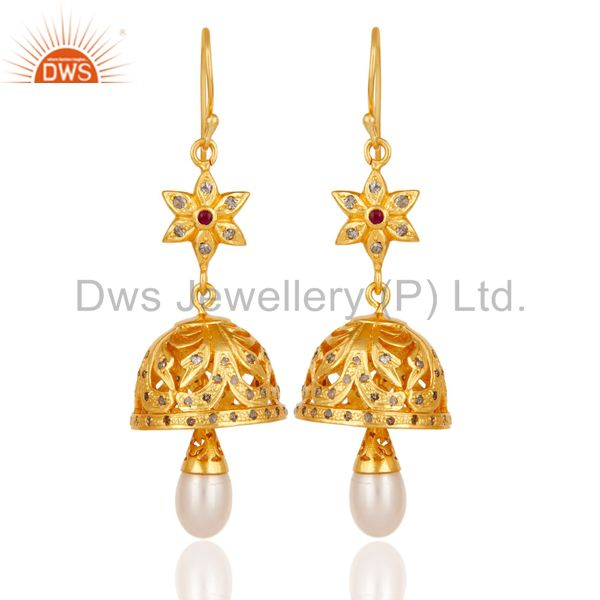 Diamond, Pearl & Ruby Jhumka Earrings with 18k Gold Plated Sterling Silver