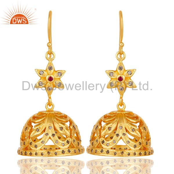 Handmade 18k Gold Plated Sterling Silver Jhumka Earrings with Diamond & Ruby