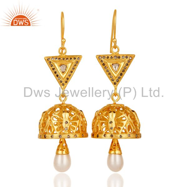 Traditional Diamond & Pearl Jhumka Earrings with 18k Gold Plated Sterling Silver