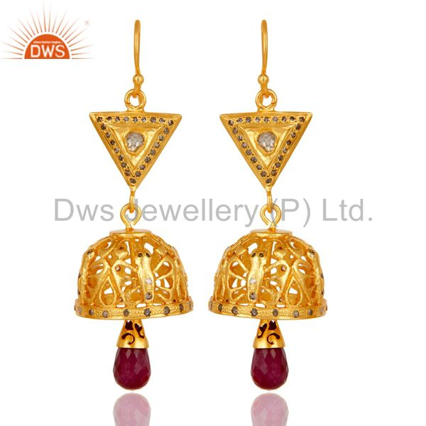 18k Gold Plated Sterling Silver Diamond & Ruby Fancy Cut Jhumka Earrings