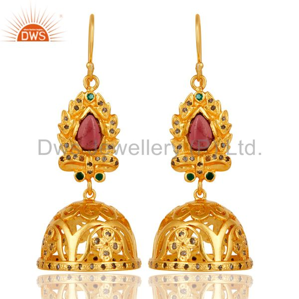 18k Gold Plated Sterling Silver Diamond & Multi Color Stone Cut Jhumka Earrigs