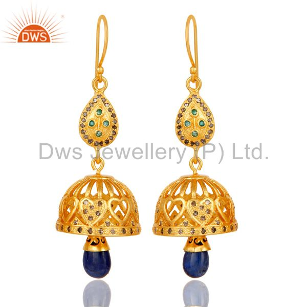 18k Gold Plated Sterling Silver Sapphire, Emerald & Diamon Cut Jhumka Earrings
