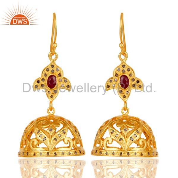 18k Gold Plated Sterling Silver Handmade Diamond Cut Ruby Jhumka Earrings