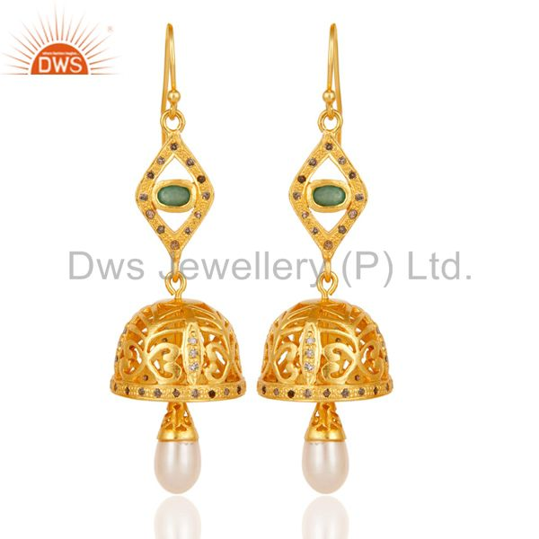 Diamond, Pearl & Emerald 18k Yellow Gold Plated Sterling Silver Jhumka Earrings