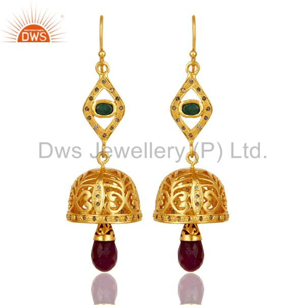 18k Gold Plated 925 Sterling Silver Diamond Cut Emerald & Ruby Jhumka Earrings