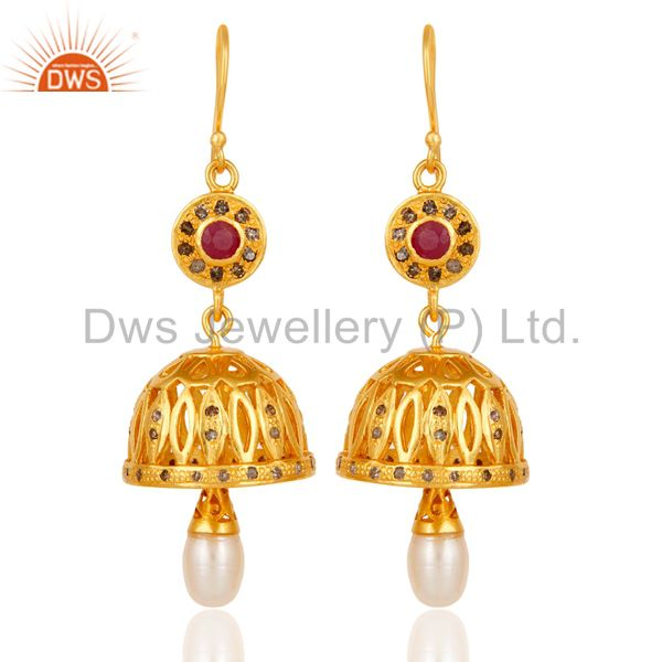 Diamond, Ruby & Pearl 18k Gold Plated 925 Sterling Silver Jhumka Earrings