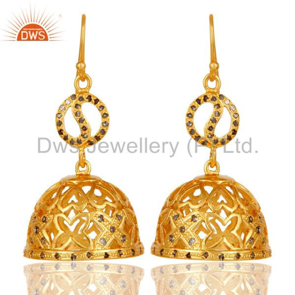 18k Yellow Gold Plated 925 Sterling Silver Diamond Cut Jhumka Earrings