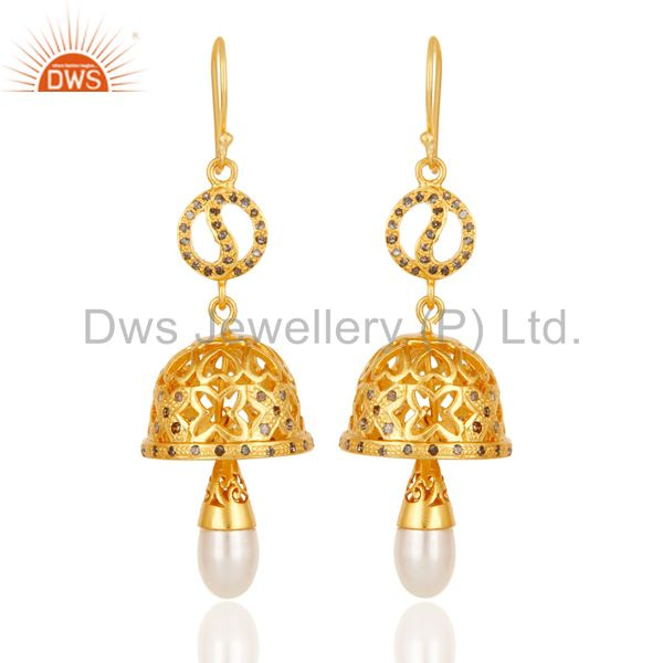 18k Yellow Gold Plated 925 Sterling Silver Diamond Cut Pearl Jhumka Earrings