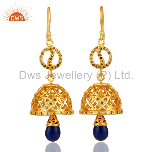 18k Gold Plated 925 Sterling Silver Diamond & Blue Sapphire Jhumka Earrings